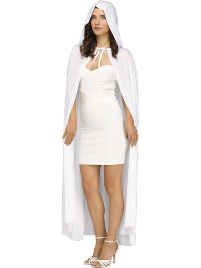 "68""Hooded Cape - White-Costume Accessories-Jokers Costume Hire and Sales Mega Store"