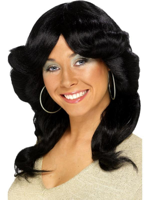 70s Flick Wig - Black-Wigs-Jokers Costume Hire and Sales Mega Store