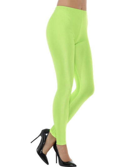 80s Disco Spandex Leggings - Neon Green-Leg Wear-Jokers Costume Hire and Sales Mega Store