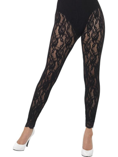 80s Lace Leggings, Black-Leg Wear-Jokers Costume Hire and Sales Mega Store