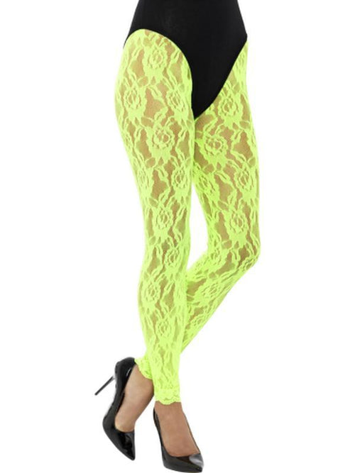 80s Lace Leggings, Neon Green-Leg Wear-Jokers Costume Hire and Sales Mega Store