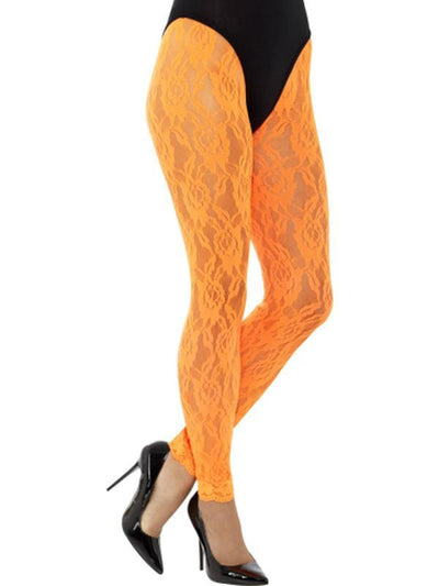 80s Lace Leggings, Neon Orange-Leg Wear-Jokers Costume Hire and Sales Mega Store