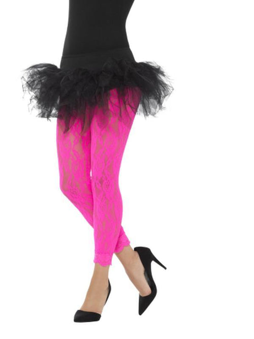 80s Lace Leggings, Neon Pink-Leg Wear-Jokers Costume Hire and Sales Mega Store