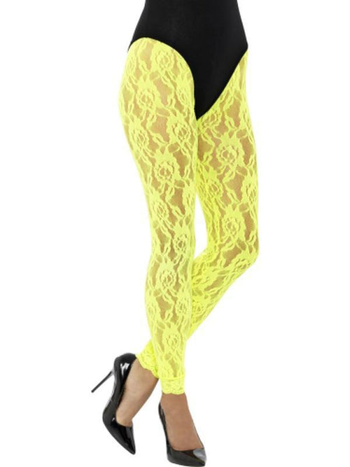 80s Lace Leggings, Neon Yellow-Leg Wear-Jokers Costume Hire and Sales Mega Store