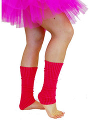 80s Leg Warmers - Fluoro Pink-Leg Wear-Jokers Costume Hire and Sales Mega Store