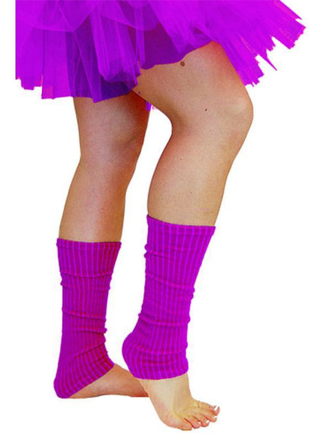 80s Leg Warmers - Fluoro Purple-Leg Wear-Jokers Costume Hire and Sales Mega Store