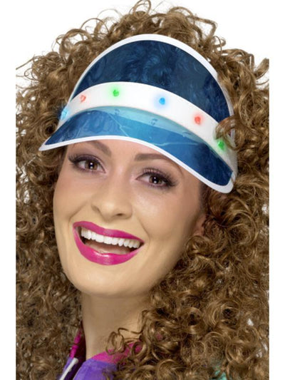 80s Light Up Visor, Blue-Hats and Headwear-Jokers Costume Hire and Sales Mega Store