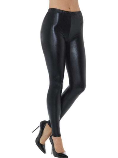 80s Metallic Disco Leggings - Black-Leg Wear-Jokers Costume Hire and Sales Mega Store