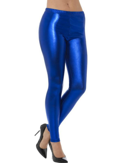 80s Metallic Disco Leggings - Blue-Leg Wear-Jokers Costume Hire and Sales Mega Store