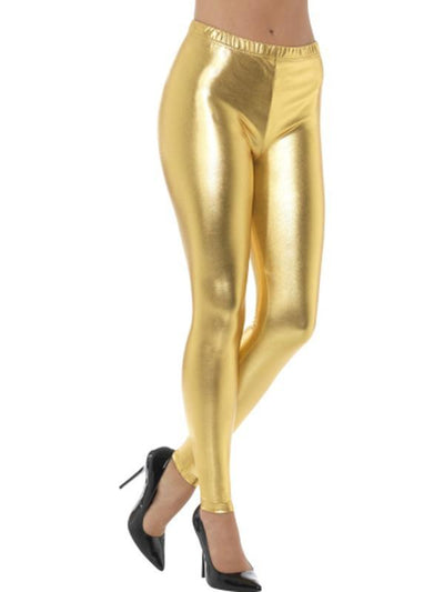 80s Metallic Disco Leggings - Gold-Leg Wear-Jokers Costume Hire and Sales Mega Store