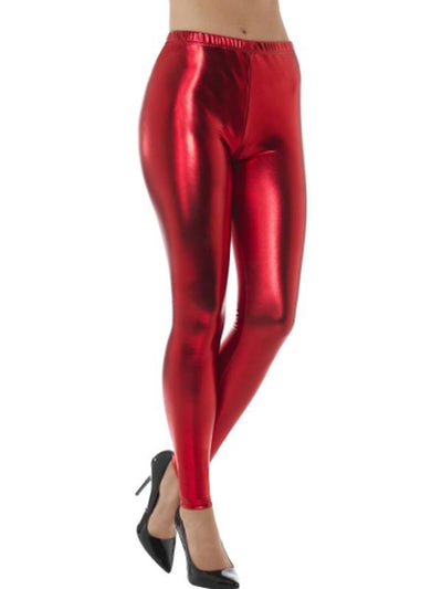 80s Metallic Disco Leggings - Red-Leg Wear-Jokers Costume Hire and Sales Mega Store