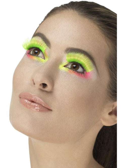 80s Party Eyelashes, Neon Green-Make up and Special FX-Jokers Costume Hire and Sales Mega Store