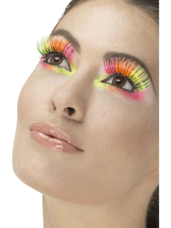 80s Party Eyelashes, Neon, Multi-Coloured-Jokers Costume Mega Store