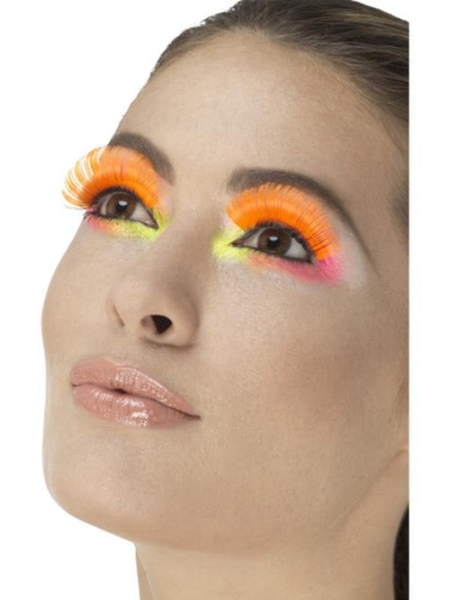 80s Party Eyelashes, Neon Orange-Make up and Special FX-Jokers Costume Hire and Sales Mega Store