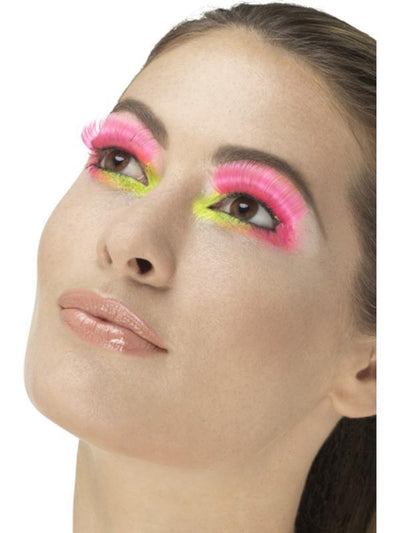 80s Party Eyelashes, Neon Pink-Jokers Costume Mega Store