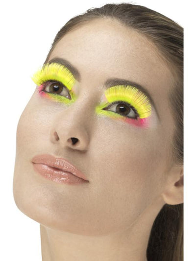 80s Party Eyelashes, Neon Yellow-Make up and Special FX-Jokers Costume Hire and Sales Mega Store