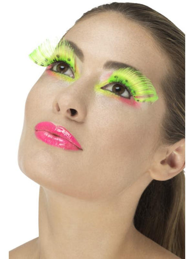 80s Polka Dot Eyelashes - Neon Green-Jokers Costume Mega Store