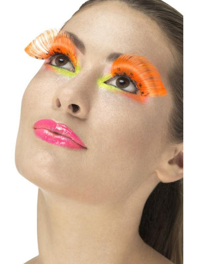 80s Polka Dot Eyelashes - Neon Orange-Jokers Costume Mega Store