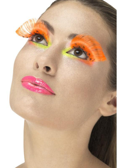 80s Polka Dot Eyelashes - Neon Orange-Make up and Special FX-Jokers Costume Hire and Sales Mega Store