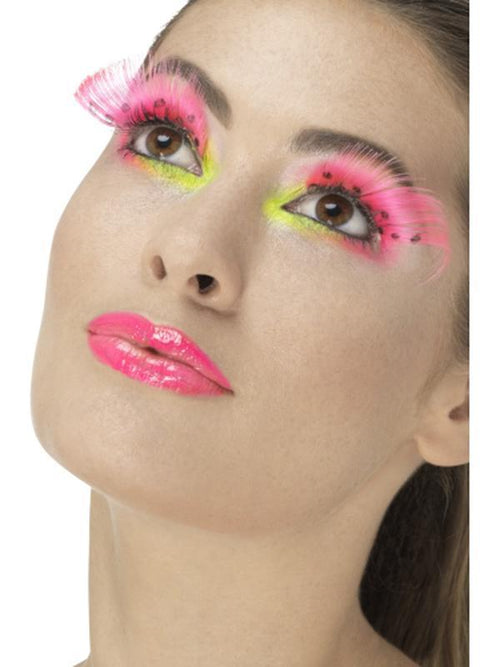 80s Polka Dot Eyelashes - Neon Pink-Make up and Special FX-Jokers Costume Hire and Sales Mega Store