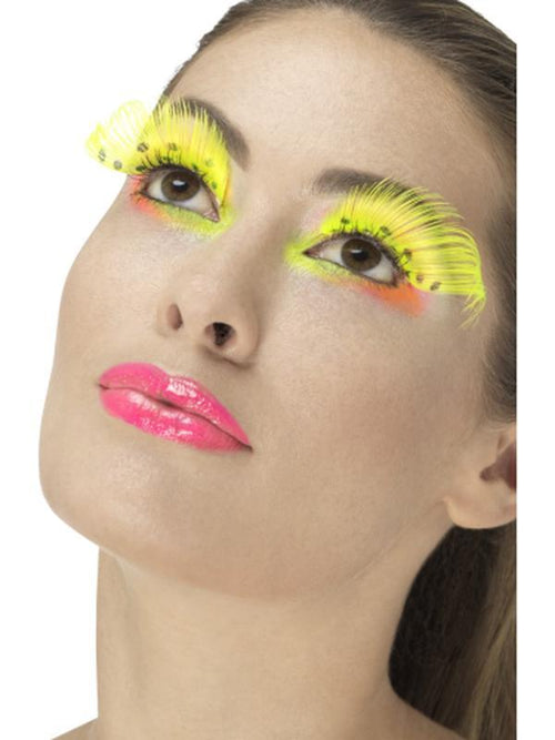 80s Polka Dot Eyelashes - Neon Yellow-Make up and Special FX-Jokers Costume Hire and Sales Mega Store