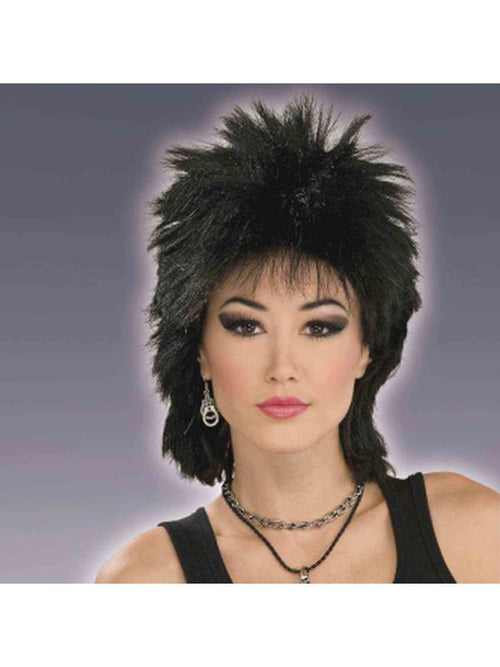 80's Rock Idol Black Wig Adult-Wigs-Jokers Costume Hire and Sales Mega Store