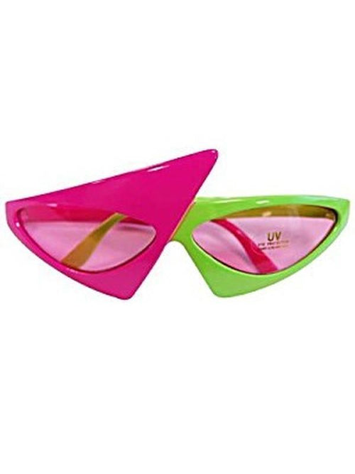 80'S Rocker Glasses - Pink / Green-Eyewear-Jokers Costume Hire and Sales Mega Store