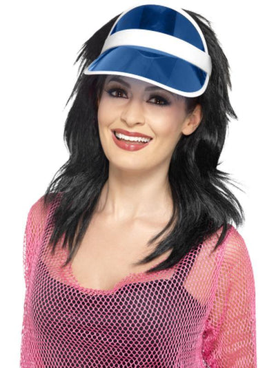 80s Sun Visor - Blue-Hats and Headwear-Jokers Costume Hire and Sales Mega Store