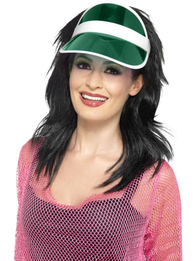 80s Sun Visor - Green-Hats and Headwear-Jokers Costume Hire and Sales Mega Store