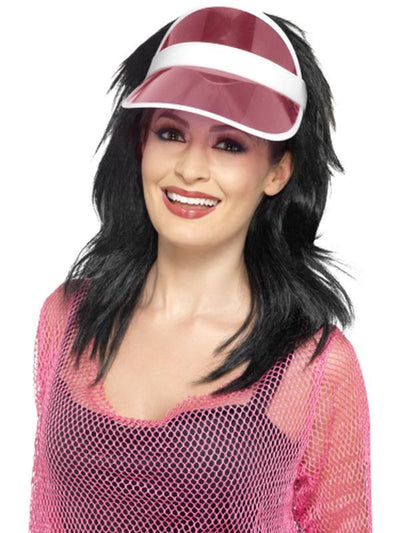 80s Sun Visor - Pink-Hats and Headwear-Jokers Costume Hire and Sales Mega Store