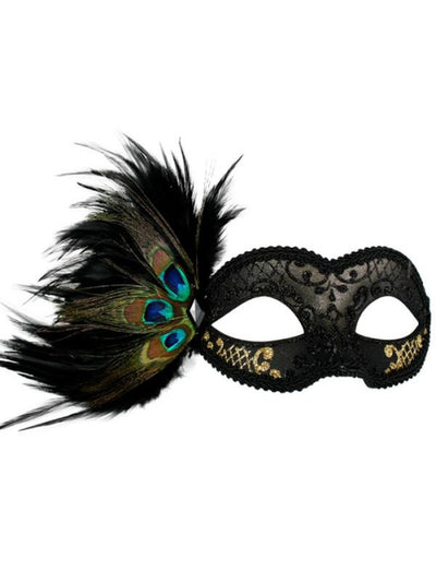 ADRIANNA Black and Gold Peacock Feather Eye Mask-Masks - Masquerade-Jokers Costume Hire and Sales Mega Store