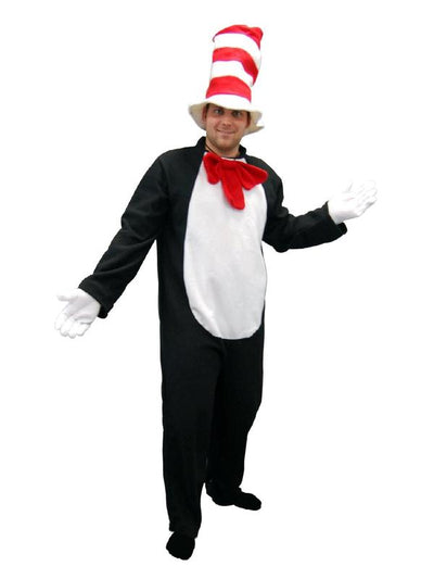 Adult Onesie - Cat with Hat-Costumes - Mens-Jokers Costume Hire and Sales Mega Store