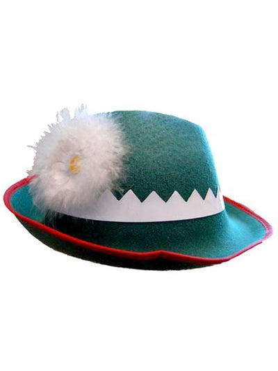 Alpine Green Feltex with Flower-Hats and Headwear-Jokers Costume Mega Store