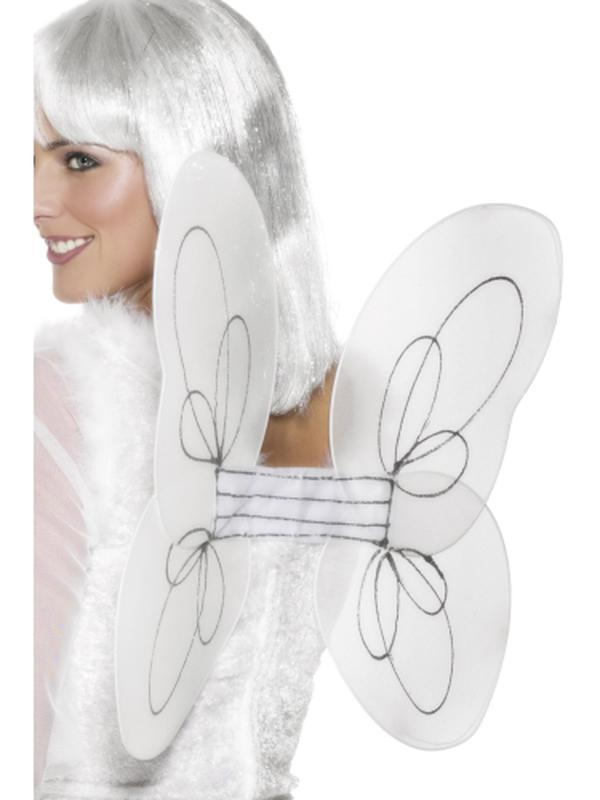 Angel Glitter Wings, White and Silver-Jokers Costume Mega Store