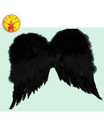 ANGEL WINGS, BLACK FEATHER-Costume Accessories-Jokers Costume Hire and Sales Mega Store