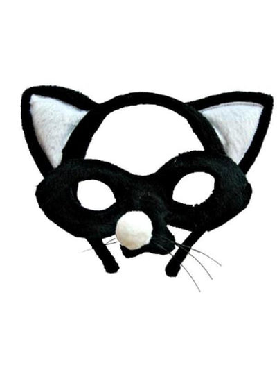 Animal Headband & Mask Set - Cat Blk/Wh-Masks - Animal-Jokers Costume Hire and Sales Mega Store