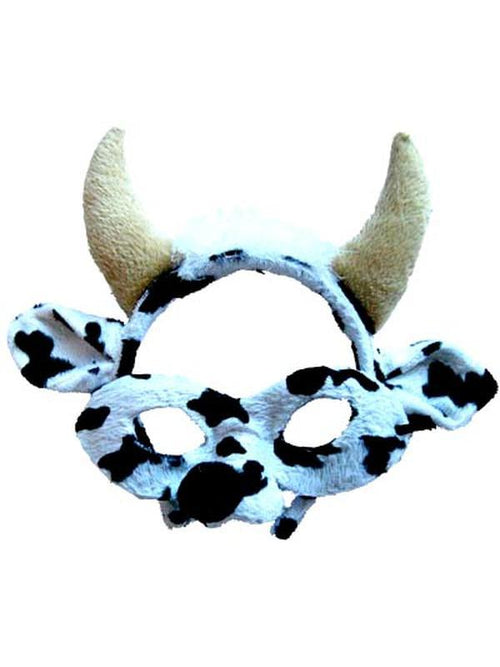 Animal Headband & Mask Set - Cow Blk/Wh-Masks - Animal-Jokers Costume Hire and Sales Mega Store