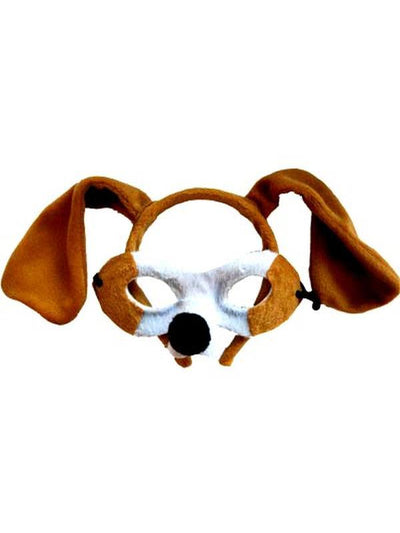 Animal Headband & Mask Set - Dog Brn/Wh-Masks - Animal-Jokers Costume Hire and Sales Mega Store