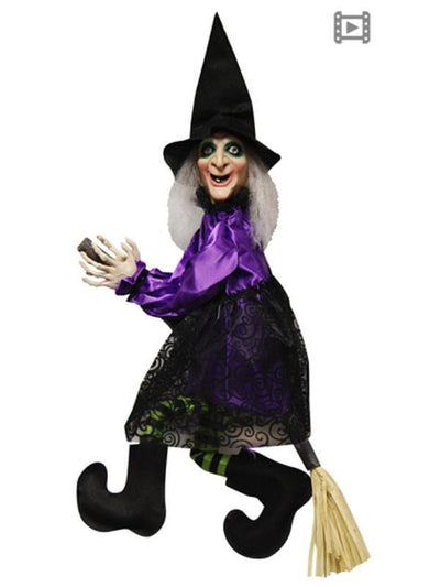 Animated Flying/Talking Witch on Broom-Halloween Props and Decorations-Jokers Costume Hire and Sales Mega Store