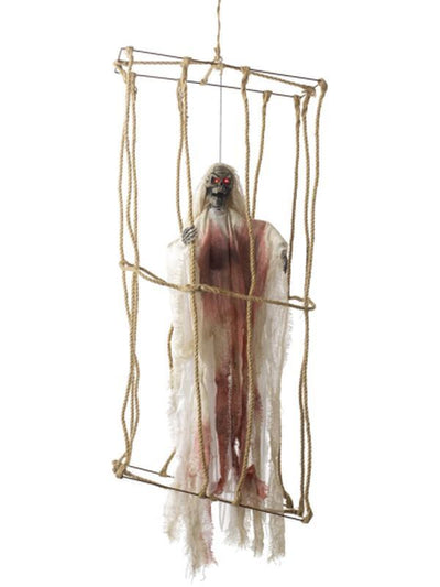 Animated Hanging Caged Skeleton Decoration-Halloween Props and Decorations-Jokers Costume Hire and Sales Mega Store
