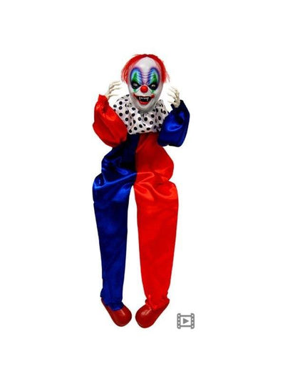 Animated Sitting Clown w/Moving Body-Halloween Props and Decorations-Jokers Costume Hire and Sales Mega Store