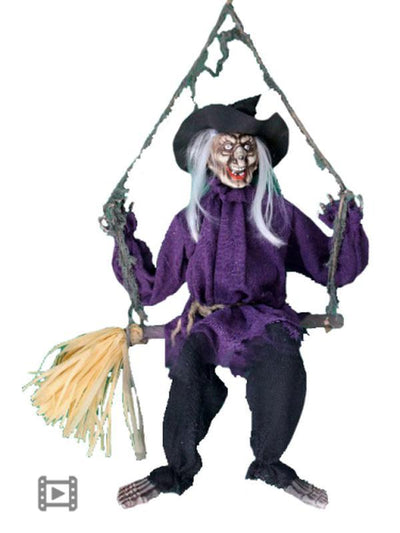 Animated Swinging/Talking Witch on Brm-Halloween Props and Decorations-Jokers Costume Hire and Sales Mega Store
