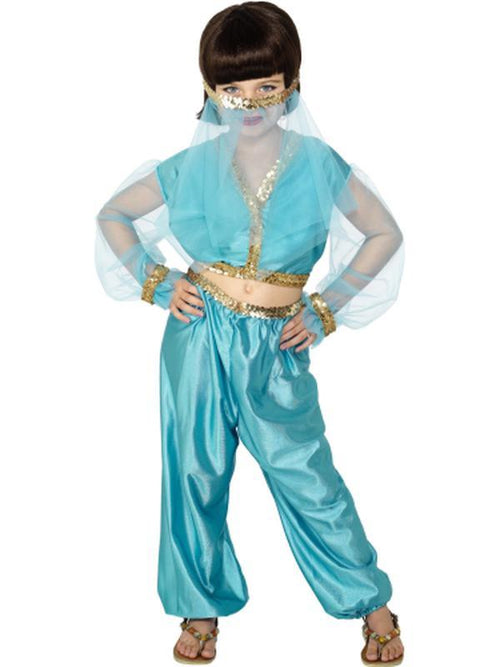 Arabian Princess Costume, Blue, includes Trousers, Top & Headpiece-Costumes - Girls-Jokers Costume Hire and Sales Mega Store