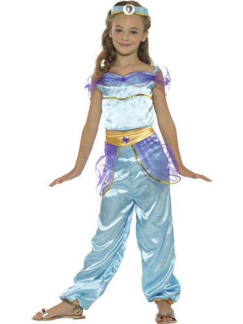 Arabian Princess Costume, Blue, with Top, Trousers & Headpiece-Costumes - Girls-Jokers Costume Hire and Sales Mega Store
