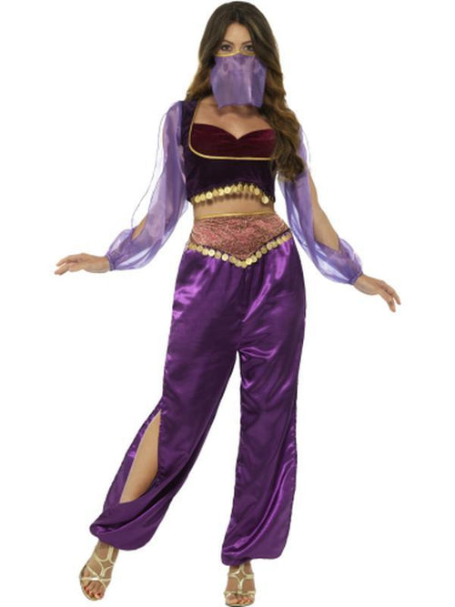 Arabian Princess Costume, Purple, with Trousers, Top & Face Veil-Costumes - Women-Jokers Costume Hire and Sales Mega Store