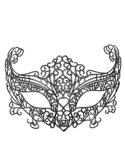 AVA Plastic Lace Black Eye Mask-Masks - Masquerade-Jokers Costume Hire and Sales Mega Store