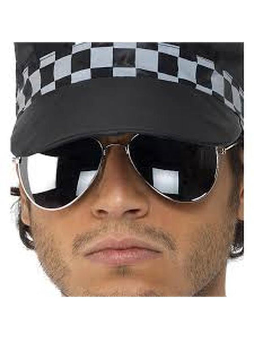 Aviator Specs, Mirror - Silver Mirror, Silver & Black-Eyewear-Jokers Costume Hire and Sales Mega Store