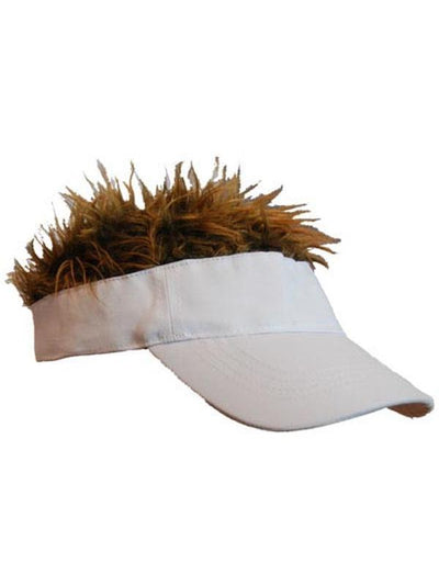 Baby Flair Hair White Visor - Brn Hr-Hats and Headwear-Jokers Costume Hire and Sales Mega Store