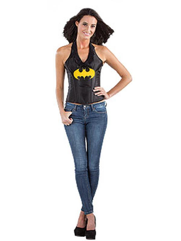 Batgirl Leather-Look Corset - Size M-Costumes - Women-Jokers Costume Hire and Sales Mega Store