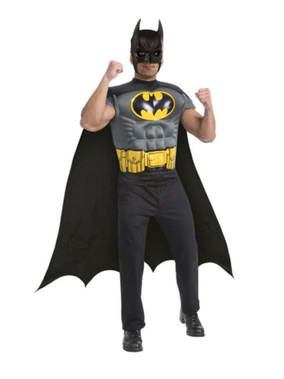 Batman Muscle Chest Shirt - Size Std-Costumes - Mens-Jokers Costume Hire and Sales Mega Store
